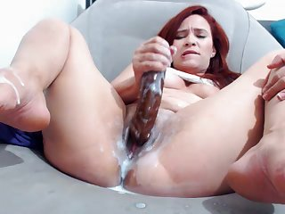 ergo much cream while effectuation with huge dildo