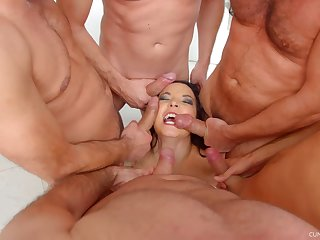 MILF Belle Francys on the brush knees getting mouth fucked at the end of one's tether a couple of men