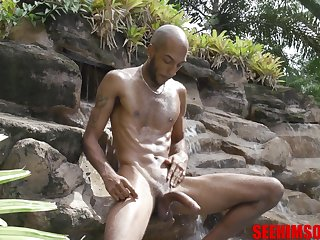Horny bearded bald dude feels great wanking himself till he jizzes