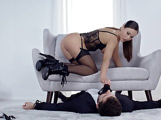 Charming babe in hot lingerie, fantasy cock riding porn and nude domination