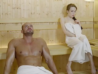 Russian gal with braided hair and broad mammories got drilled in the sauna, until she came