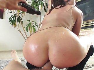 Slutty brunette adores anal cockriding at bottom erect meatstick